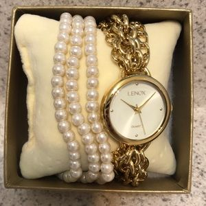 Lenox pearl & gold wrap around watch